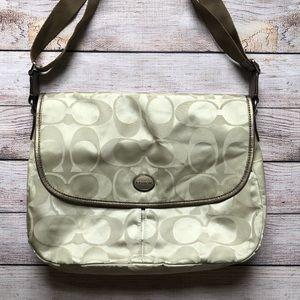COACH Signature Nylon Messenger Bag, Tan, 77490